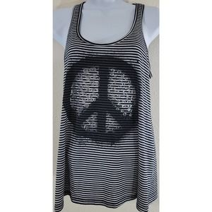 Weavers Black Stripe Peace Sign Graphic Top Large